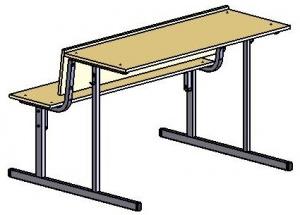 Парта-моноблок двухместная обратный стол