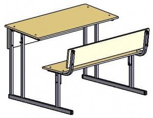 Парта-моноблок 3-х/м., со спинкой и наклоном столешницы